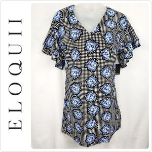 Eloquii Floral Shift Dress Size 14 Ruffle Sleeve